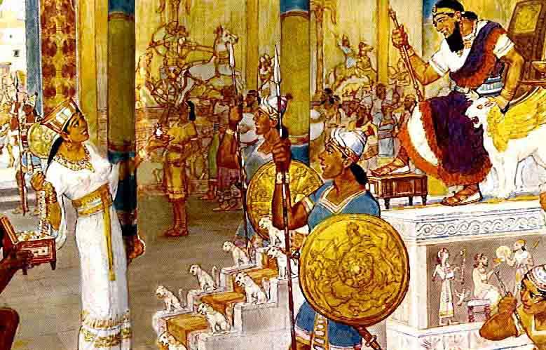 Pictorial Representation of Queen Sheba Visiting Solomon's Palace