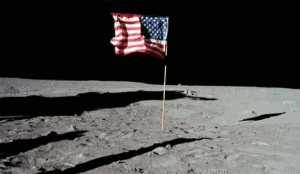 American Flag Fluttering on Moon