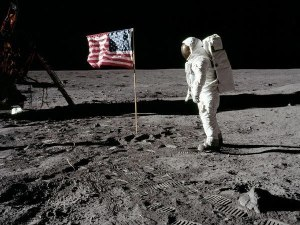 USA Flag Fluttering on Moon