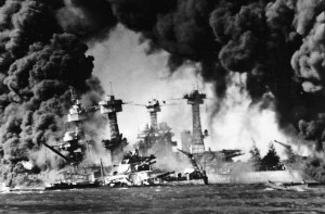 Ships ablaze in Pearl Harbor