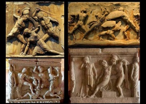 Some Stone Carvings Showing Penthesilea in Trojan War