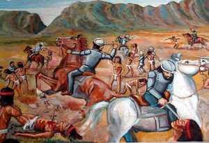 Spanish killing Aztecs